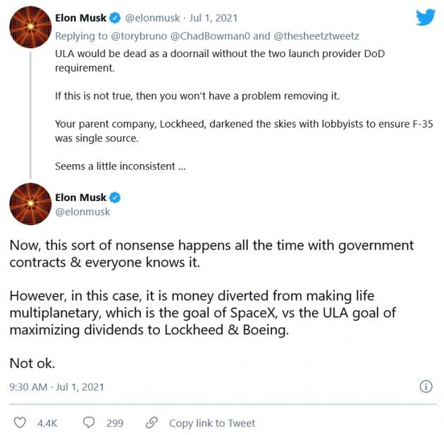 马斯克要是没有政府支持SpaceX的竞争对手会死得很惨